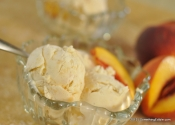 Fun with a White Mountain Ice Cream Maker: Peach, Bourbon and Vanilla Bean Ice Cream.