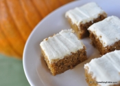 Don't call it a Sheet Cake: Whole Wheat Pumpkin Bars with Bourbon and Vanilla Cream Cheese Frosting.