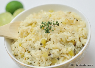 Buttery rice with lemon thyme and lime